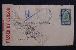 """INDE - Enveloppe De Pondichery Pour La France En 1941 , Contrôle Postal , Cachet """" Ne Peux être Acheminé ..""""- L 31746 - Inde (1892-1954)"""