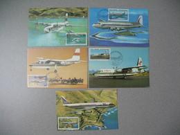 Carte Maximum 1966 Polynésie Française N° 148-149-150-151-152  Les Avions En Polynésie Française Cachet Papeete - Luchtpost
