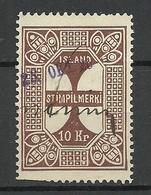 ISLAND O 1926 Documentary Tax Stempelmarke 10 Kr. O - Dienstpost
