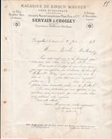 1878 FOUGEROLLES - ABSINTHE  Suisse - KIRSCH WASSER - SERVAIN & CHOLLEY - Documents Historiques