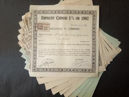 Lot 21 Emprunts CHINOIS 5% OR 1902 - Aandelen