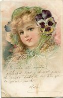 DRAWING GIRL WITH FLOWERS, DIBUJO DE NIÑA CON FLORES, DESSIN FILLE AUX FLEURS. POSTAL CPA CIRCA 1910's CIRCULATED -LILHU - Dessins D'enfants
