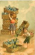 CHILDENS WITH FLOWERS AND SHAMROCKS, NIÑOS CON FLORES Y TREBOLES. POSTAL CPA YEAR 1908 CIRCULATED -LILHU - Dibujos De Niños