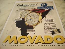 ANCIENNE PUBLICITE CALENDOGRAF MONTRE MOVADO  1950 - Joyas & Relojería