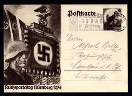 14128-GERMAN EMPIRE-.MILITARY PROPAGANDA POSTCARD REICHSPARTEITAGE Nurnberg.1934.WWII.DEUTSCHES REICH.Postkarte.Carte - Covers & Documents