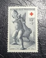 Timbre Neuf - Croix Rouge - 1955 - L'enfant à L'oie (statue Grecque)  -  15 F   + 5 F - Francia