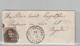 COB N °10 Sur Pli - D12 Cruyshautem Vers Deynze - 4 Marges - 1858-1862 Médaillons (9/12)
