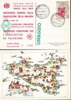 """ITALIA 1990 - Cartolina """"CONFERENZA EUROPEA ERADICAZIONE MALARIA"""" - PALERMO 1960.+2 - Manifestazioni"""