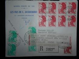 France Liberte De Gandon , Lettre Recommandee De Savigny-les-beaune 1983 Pour Vallouise - 1982-90 Liberty Of Gandon