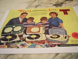 ANCIENNE  PUBLICITE APPORTE LA JOIE  ELECTROPHONE  DE TEPPAZ 1958 - Music & Instruments