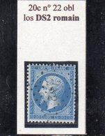Paris - N° 22 Obl Losange DS2 Romain - 1862 Napoléon III