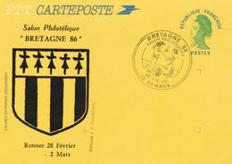 """RENNES  35 : Carte Illustrée Du Salon Philatélique """"Bretagne"""" + T. à D. Commémoratif """" Les Amoureux De Peynet (superbe). - Enteros Postales"""