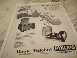 ANCIENNE PUBLICITE HAUTE FIDELITE PHILIPS 1958 - Musik & Instrumente