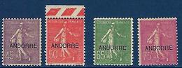 """Andorre YT 14 à 16 """" Semeuse Lignée """" 1931 Neuf* - Andorre Français"""
