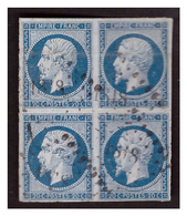 Bloc De 4 Du N° 14 Obl. - 1862 Napoleon III