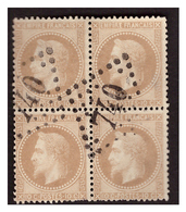 Bloc De 4 Du N° 28B Obl. - 1863-1870 Napoléon III Lauré