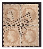 Bloc De 4 Du N° 28B Obl. - 1863-1870 Napoleon III With Laurels