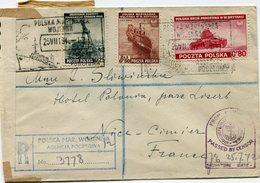 POLOGNE LETTRE RECOMMANDEE CENSUREE DEPART POLSKA MAR WOJENNA AGENCIA POCZTOWA 25 VII 1942 POUR LA FRANCE - 1939-44: World War Two
