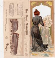 """CHROMO à Système 13,8 X 15,2 Publicitaire """"Au Bon Marché"""" PARIS Art Nouveau Art Nouille Mode  (2 Scans) - Découpis"""