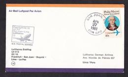 USA: FFC First Flight Cover, 1981, 1 Stamp, Lufthansa DC 10 San Juan - Lima, Puerto Rico (traces Of Use) - Stati Uniti