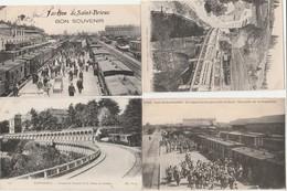 4 CPA:SAINT BRIEUC (22) MILITAIRE POUR LE FRONT TRAIN GARE,VIADUC DE SOUZIN,TRAIN BOULEVARD SÉVIGNÉ,NOMBREUX TRAINS GARE - Saint-Brieuc