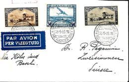 Belgique. TP 407, 408 + PA 1   Impr Par Avion Bruxelles Exp. Philatélique > Zweisimmen, Suisse  1935  Tarif Exact - Storia Postale
