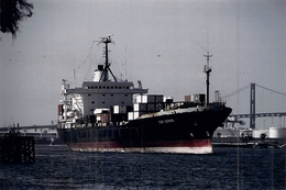 "Photo Couleur Ancienne Originale Bateau C G M "" Lorraine "" 1980 Emden "" Balandra "" - Cargos"