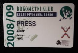 Press Ticket Handball Club RK Celje Pivovarna Lasko Slovenia 2008/2009 Plastic Card - Tickets D'entrée