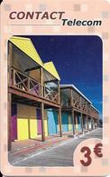 CARTE-PREPAYEE-DOM-TOM-CONTACT TELECOM-3€-CASE-Sans Date-V° GSM 4 Cadres Orange-TBE    - - Francia
