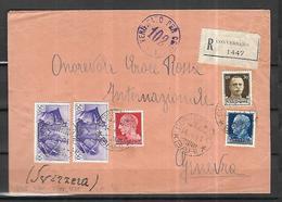 Italie Lettre Recommandée  De Conversano - Bari  Du 14 04 1941 Pour Genève - Poststempel