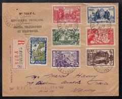 GUYANE - CAYENNE / 1937 SERIE EXPOSITION INTERNATIONALE SUR LETTRE RECOMMANDEE POUR NANCY (ref LE3496) - Lettres & Documents