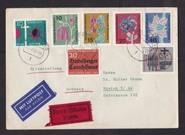 Germany: Airmail Express Cover To Switzerland, 1963, 7 Stamps, Flowers, Religion, Label (traces Of Use) - [7] West-Duitsland