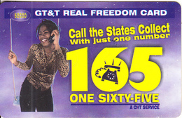 GUYANA - Girl On Phone, One Sixty Five, GT&T Prepaid Card $2000, Used - Guyane