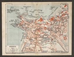 CARTE PLAN 1929 - BIARRITZ L'ARTILLERIE LES CHANINGS LE MISERABLE BASTA VILLAS BAINS DAMES - Topographische Kaarten