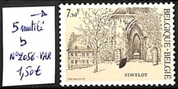 D - [830653]TB//**/Mnh-Belgique  - N° 2056VAR, 5 Mutilé B - Abarten Und Kuriositäten