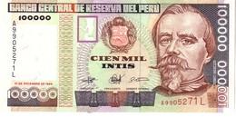 Peru P.145 100000 Intis 1989  Unc - Perù