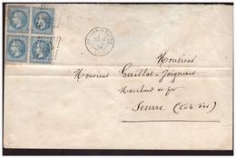 Bloc De 4 Du N° 29B Sur Lettre De CHALONS SUR SAONE Pour SEURRE Du 17.7.70. - Marcophilie (Lettres)