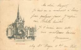 CARTE PRECURSEUR PARIS EGLISE SAINT LAURENT DATEE 1898 TIMBRE TYPE SAGE - Iglesias