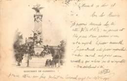 CARTE PRECURSEUR PARIS MONUMENT DE GAMBETTA  DATEE  1898 TIMBRE TYPE SAGE  EN PAIRE - Frankrijk