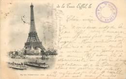 CARTE PRECURSEUR PARIS TOUR EIFFEL AVEC CACHET TOUR EIFFEL DATEE  1899 TIMBRE TYPE SAGE - Tour Eiffel