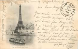 CARTE PRECURSEUR PARIS TOUR EIFFEL AVEC CACHET TOUR EIFFEL EXPO UNIVERSELLE DATEE  1900 TIMBRE TYPE SAGE - Tour Eiffel