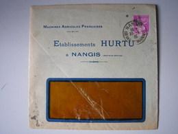 40c Violet Type Paix Perforé  Sur Enveloppe Des Etablissements HURTU De Nangis  En 1935 - Peu Commun - France