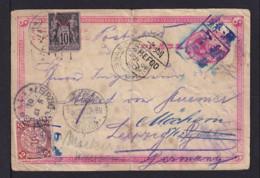 1901 - 1 C. Ganzsache Mit Zufrankatur - Tombstone Stempel Aus WEIHSIEN über Chefoo Und Franz. Post Shanghai N. Deutschl. - Chine