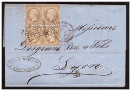 Bloc De 4 Du N° 21 Sur Lettre De SALONIQUE Pour LYON Du 14 Mai 1867 Obl Gros Chiffre 5095 Et SALONIQUE TURQUIE - Postmark Collection (Covers)