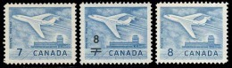 Canada (Scott No. 414-430-436 - 3 Differents Jets - All 3 Different Jets) [**] - 1952-.... Règne D'Elizabeth II