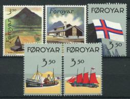 Faroe Islands 1990 Mi. 198-202 MNH 100% Postal Facilities, Flag, Ship - Faroe Islands