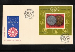 Romania 1972 Olympic Games Muenchen Michel Block 100 FDC - Sommer 1972: München