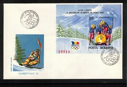 Romania 1992 Olympic Games Albertville Michel Block 270 FDC - Winter 1992: Albertville