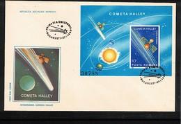 Romania 1986 Halley Comet Michel Block 222 FDC - Astronomie