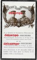 Oorlog Guerre Egide En Alfred Beckers Hemiksem Soldaat Alle 2 Gesneuveld Te Kortemark 15 Okt 1918 Diksmuide 8 Linie - Images Religieuses